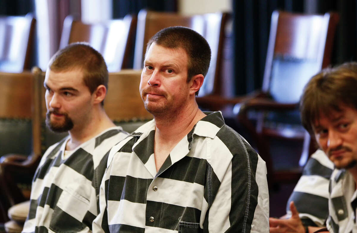 Former NFL quarterback Ryan Leaf, center, sits in a Cascade County courtroom, Tuesday, May 8, 2012, in Great Falls, Mont. Leaf pleaded guilty Tuesday to charges that he broke into a Montana home and illegally possessed painkillers, part of a deal with prosecutors that recommends he spend nine months in a secure drug treatment facility. (AP Photo/The Great Falls Tribune, Larry Beckner) NO SALES