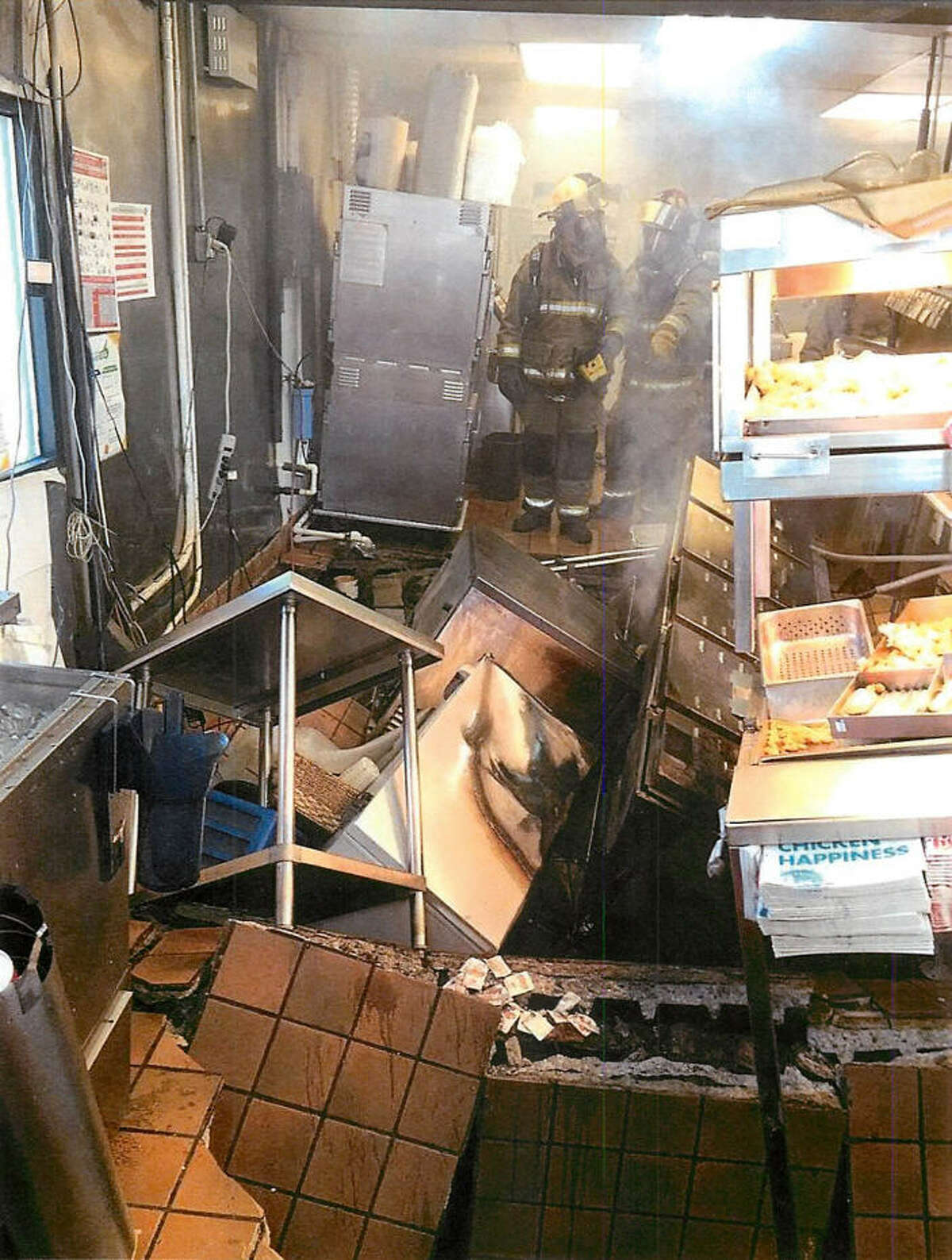 After a floor collapsed, gallons of hot oil poured down on kitchen workers at a Church's Fried Chicken in Livingston.