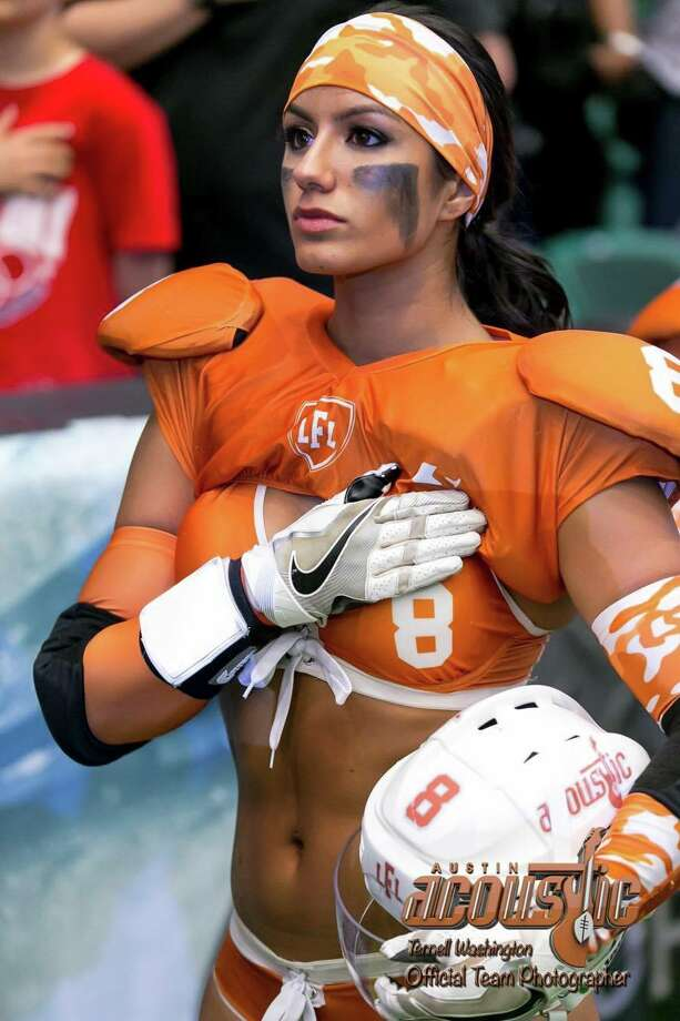 "San Antonio native Chasity Morales is a 24-year-old Austin Acoustic football player who was named one of the ""hottest"" in the Legends Football League. Photo: Provided By Chasity Morales"