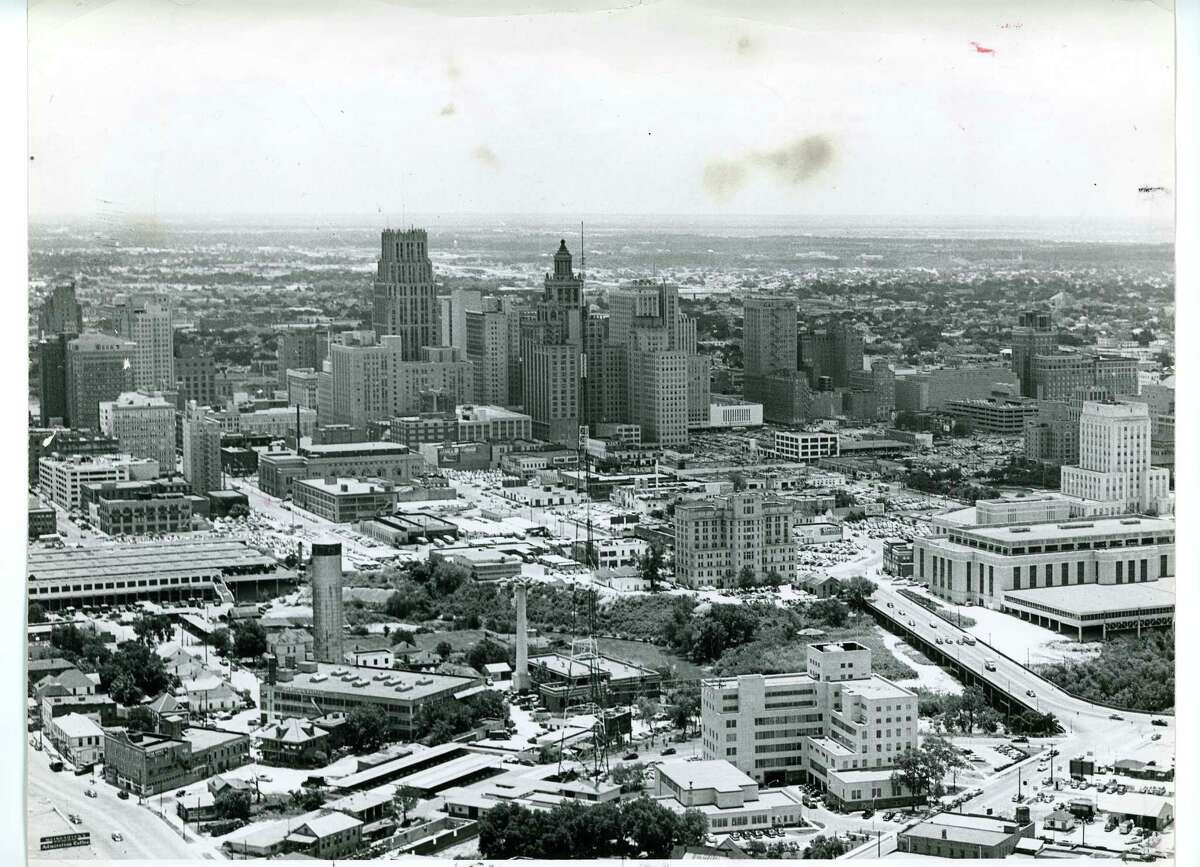 View of Houston skyline, early 1950s (photo printed 5/3/1954).