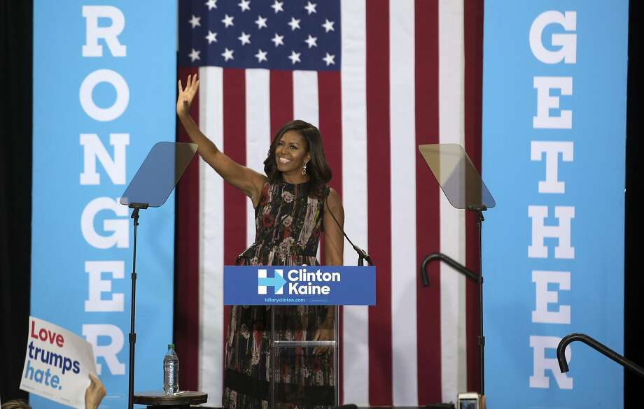 First lady Michelle Obama speaks during a rally for Democratic presidential nominee Hillary Clinton at George Mason University in Fairfax, Va. Photo: STEPHEN CROWLEY, NYT