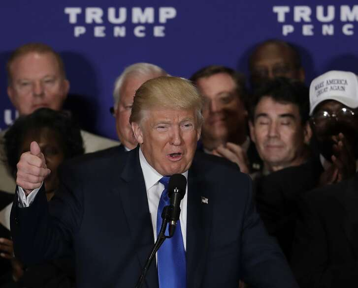"""Republican presidential candidate Donald Trump, speak and states that """"President Barack Obama was born in the United States"""" during a gathering with military leaders and veterans at the new Trump International Hotel in Washington, Friday, Sept. 16, 2016. (AP Photo/Manuel Balce Ceneta)"""