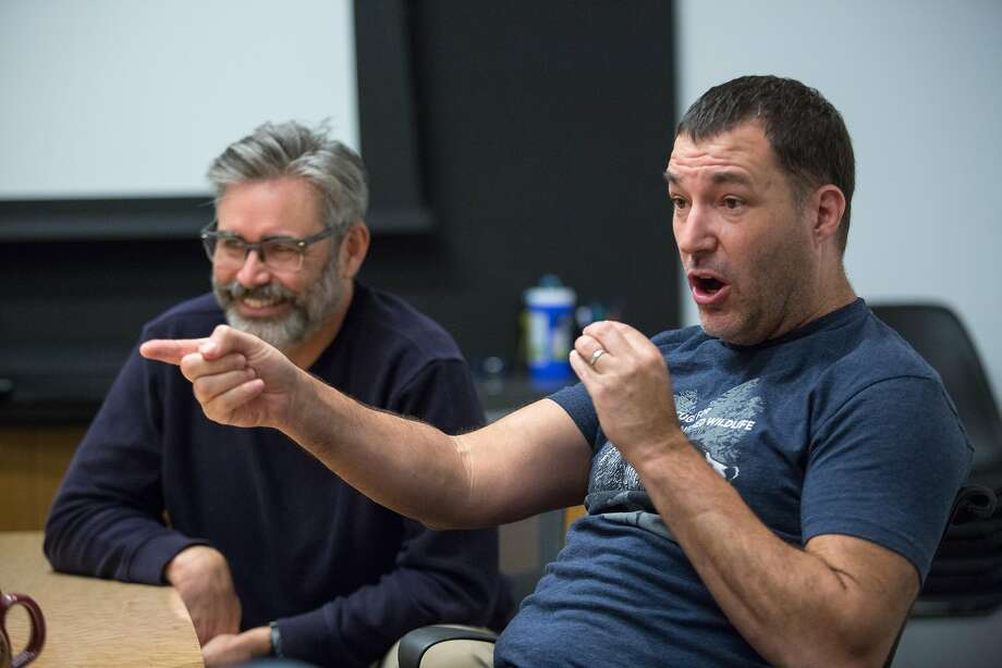 "Mark Andrews (right) and Kevin O'Brien talk about ""The Iron Giant"" at Pixar Animation Studios in Emeryville. Photo: Santiago Mejia, Special To The Chronicle"