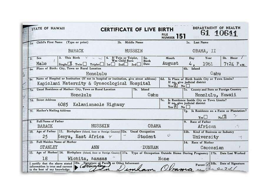This handout image provided by the White House shows a copy of the long form of President Barack Obama's birth certificate from Hawaii. (AP Photo/J. Scott Applewhite) Photo: J. Scott Applewhite, AP