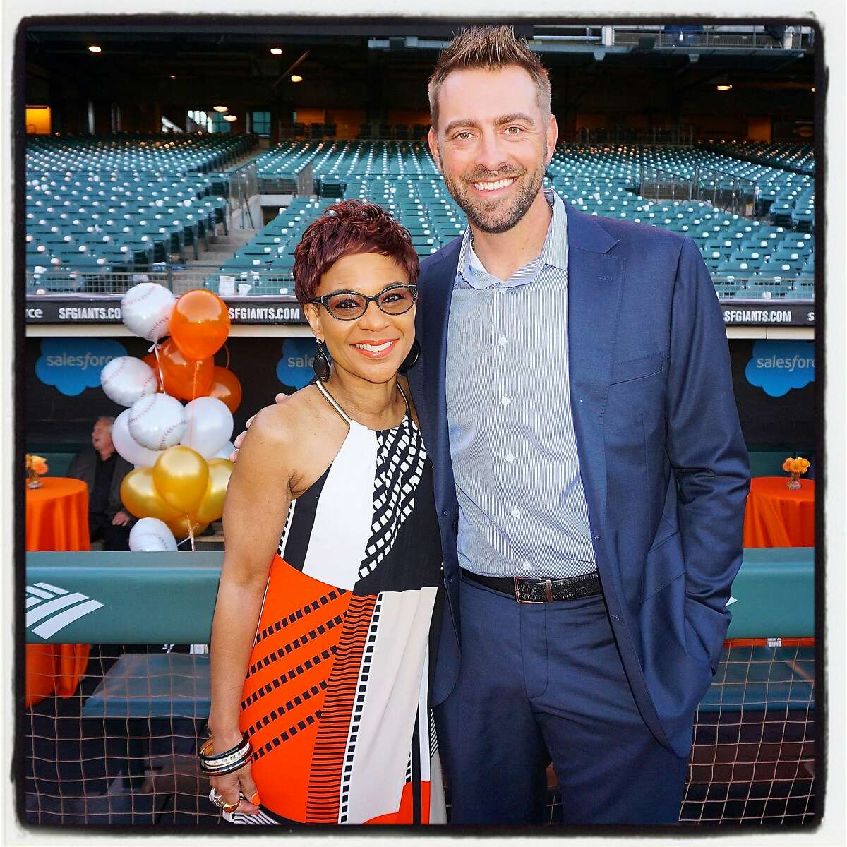 SF Giants announcer Renel Brooks-Moon and former Giants pitcher Jeremy Affeldt at AT&T ballpark to assist their good friend Buster Posey raise money for pediatric cancer research. Sept 2016.