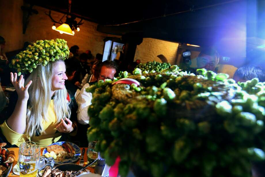 The heads of the six Munich breweries along with female patron Victoria Ostler gather for the annual beer tasting. Photo: Alexander Hassenstein/Getty Images