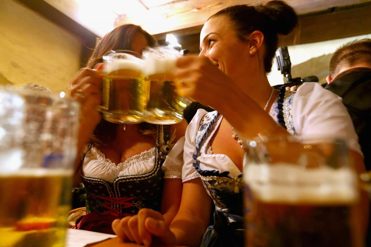 Women dressed in traditional Bavarian clothing attend the annual beer tasting prior to the 2016 Oktoberfest in the cellar of the Munich Beer and Oktoberfest Museum on Sept. 12, 2016 in Munich, Germany. Tasters meet every year shortly before Oktoberfest to sample and discuss the merits of the Oktoberfest brews of Hacker-Pschorr, Spaten, Loewenbraeu, Paulaner, Augustiner and Hofbraeu, which are the six Munich breweries and the only breweries allowed to participate in Oktoberfest. The 183rd Oktoberfest will be open to the public from Sept. 17 through Oct. 3 and will draw millions of visitors from across the globe to the world's largest beer fest.