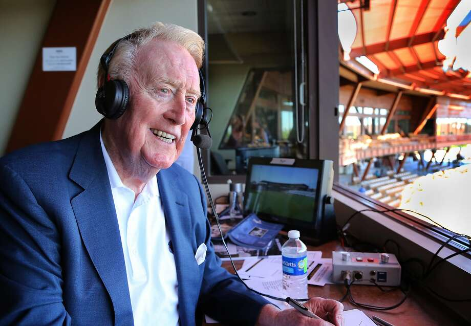 The legendary Vin Scully, the Dodgers' radio voice since 1950, will broadcast his last regular-season game at AT&T Park. Photo: Tom Tingle, Associated Press