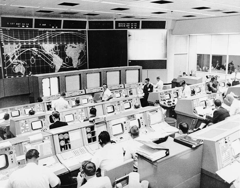 1962:  NASA's Mission Control, in Houston, during the second day of the Gemini V spaceflight. Photo: Evans/Getty Images