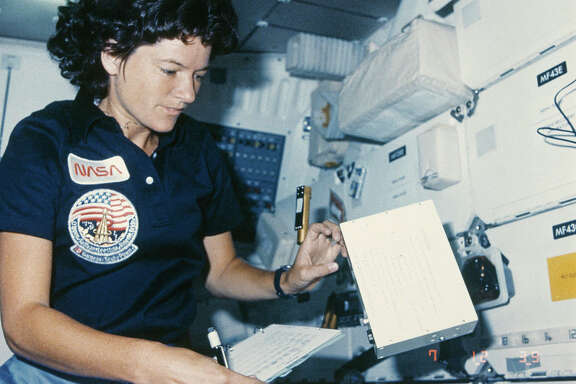 NASA astronaut Sally Ride (1951 - 2012) in the interior of the Challenger space shuttle during the STS-41-G mission, October 1984. In 1983 she became the first American woman in space on the STS-7 mission. (Photo by Space Frontiers/Getty Images)