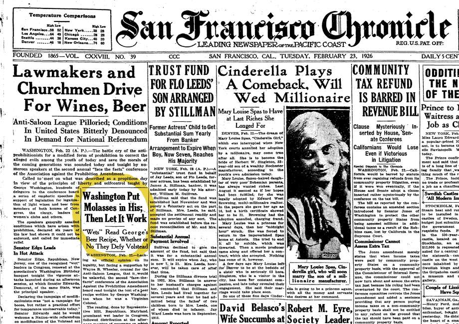 The front page of the San Francisco Chronicle in February 1926. Check out the following slides to see how the U.S. celebrated the end of Prohibition.