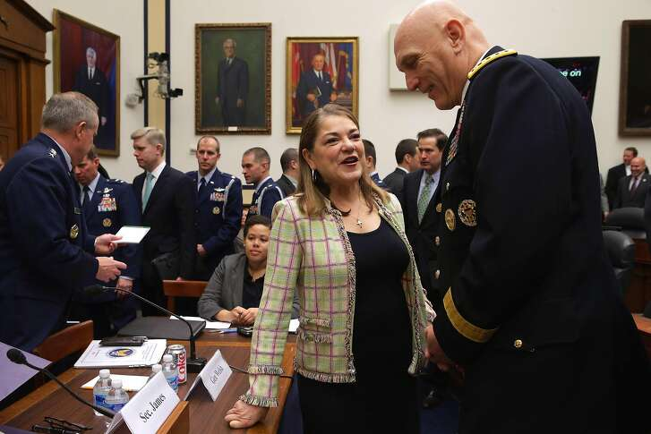 WASHINGTON, DC - MARCH 17:  House Armed Services Committee member Rep. Loretta Sanchez (D-CA) (C) talks with Army Chief of Staff Gen. Raymond Odierno before a hearing about the FY2016 National Defense Authorization Budget Request in the Rayburn House Office Building on Capitol Hill March 17, 2015 in Washington, DC. All of the service chiefs and the military secretaries warned the committee that the budget cutting measure called 'sequestration' will continue to adversley affect military rediness and put American lives at risk at home and abroad.  (Photo by Chip Somodevilla/Getty Images)