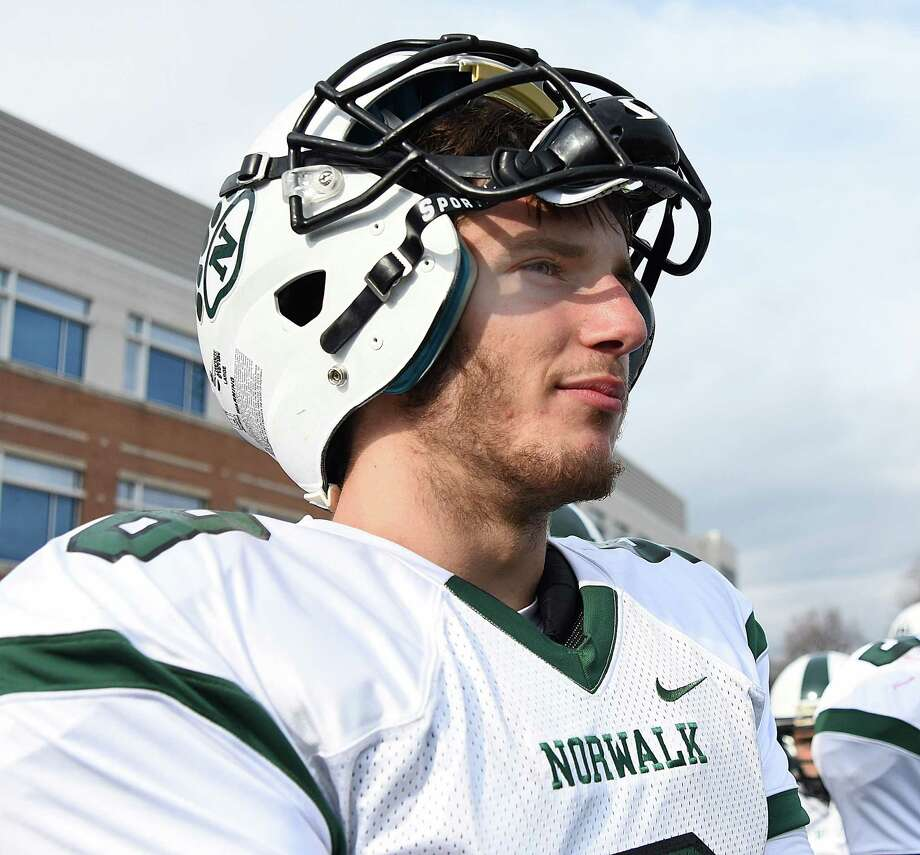 Krishtjan Frrokaj pondered transferring this summer, but returned to the Bears and now looks to raise his game as one of the best signal-callers in the FCIAC. Photo: John Nash / Hearst Connecticut Media / Norwalk Hour