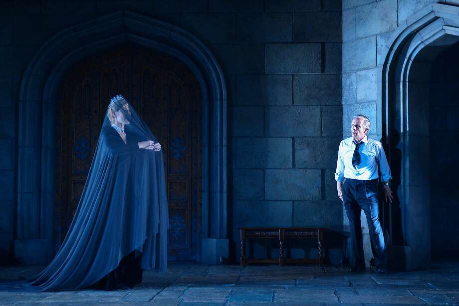 King Charles III (Robert Joy) is visited by a ghost (Chiara Motley). Photo: Kevin Berne, American Conservatory Theater