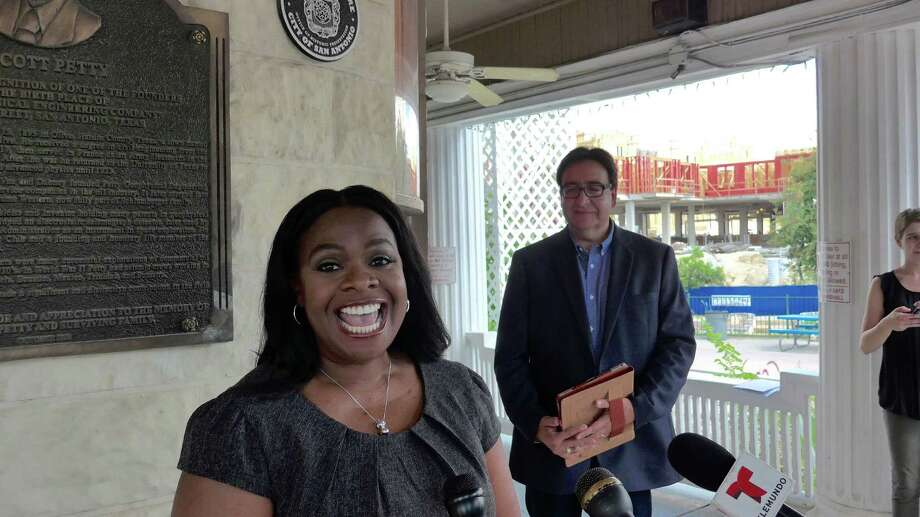 Former U.S. Rep. Pete Gallego, D-Alpine, campaigning for his former seat in District 23, is endorsed by Cheryl Lankford, aGold Star wife and former Trump University student who spoke out against Trump at the Democratic National Convention. They appeared at the VFW Post No. 76 in San Antonio. Photo: John W. Gonzalez, Express-News Staff / John W. Gonzalez, Express-News Staff