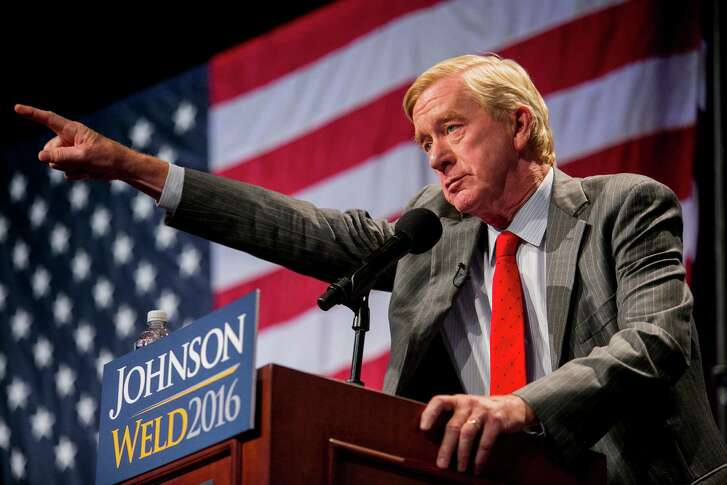 William Weld, the Libertarian vice-presidential nominee, speaks at a campaign rally at the Marriott Marquis in Manhattan, Sept. 10, 2016. (Sam Hodgson/The New York Times)
