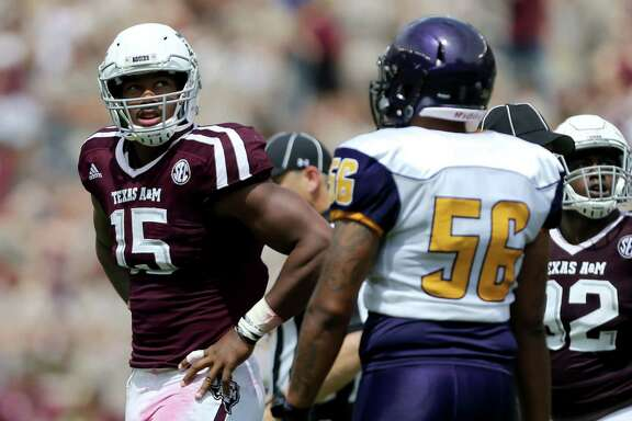 Texas A&M defensive lineman Myles Garrett (15) and the Aggies defense have something to prove against Auburn in the Southeastern Conference opener for both teams today at Jordan-Hare Stadium