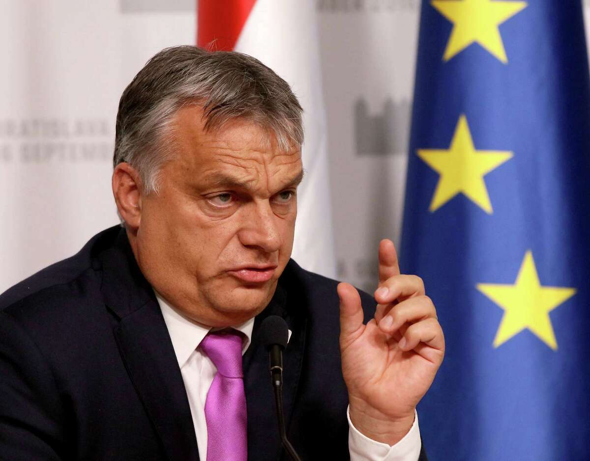 Hungarian Prime Minister Viktor Orban speaks at a press conference after the EU summit in Bratislava Friday, Sept. 16, 2016. The EU summit, without the participation of the United Kingdom, kicked off the discussion on the future of EU following Brexit. (AP Photo/Ronald Zak) ORG XMIT: XRZ135