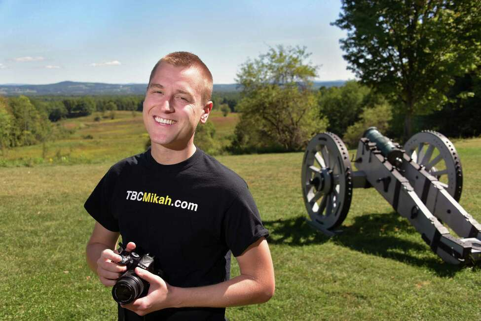 Mikah Meyer at the Saratoga National Historical Park Friday Sept. 16, 2016 in Stillwater,NY. Living out of a van, Meyer is visiting all 413 National Parks over the next few years. (John Carl D'Annibale / Times Union)