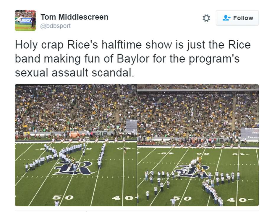 Rice's marching band mocks Baylor over sexual assault scandal.  Photo: TWITTER/TOM MIDDLESCREEN