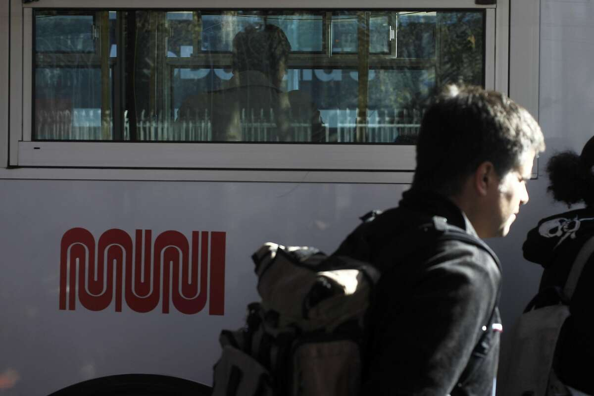A passenger boards a 67 outbound Muni bus towards Alemany Boulevard at 24th and Mission streets in San Francisco, California on Friday, September 15, 2016.