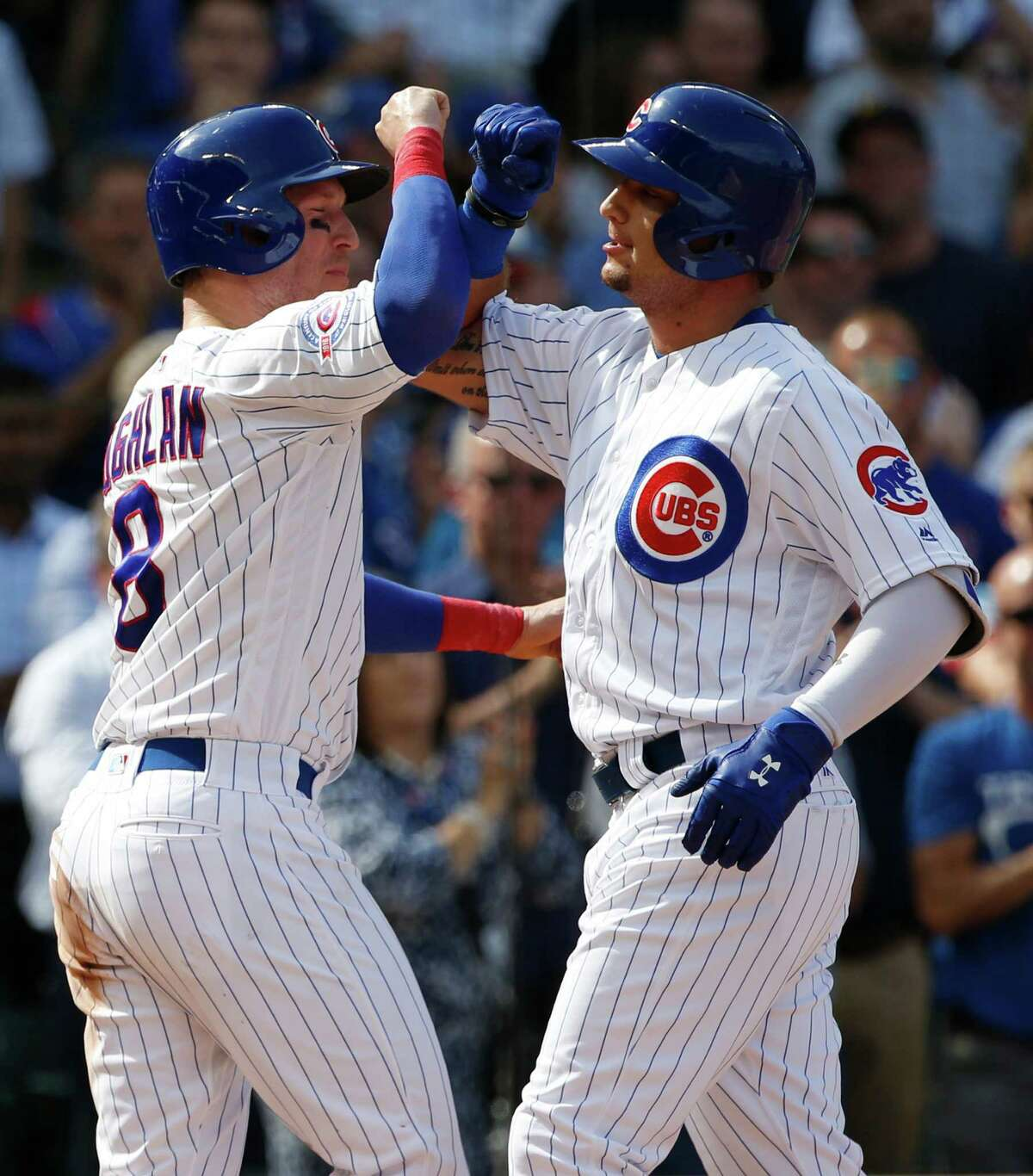 Chicago Cubs' Albert Almora Jr., right, celebrates with Chris Coghlan after hitting a two-run home run during the fifth inning of a baseball game against the Milwaukee Brewers Friday, Sept. 16, 2016, in Chicago. (AP Photo/Nam Y. Huh) ORG XMIT: CXC117