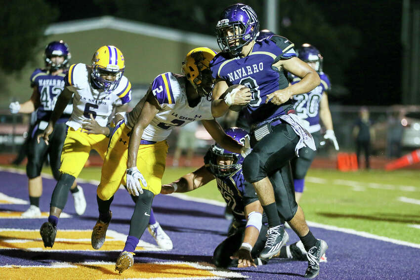 Navarro's Jared Leal scores a touchdown for the Panthers during the second half of their non-district game with La Grange at Erwin-Lee Field in Geronimo on Friday, Sept. 16, 2016. Navarro beat La Grange 42-13. MARVIN PFEIFFER/ mpfeiffer@express-news.net