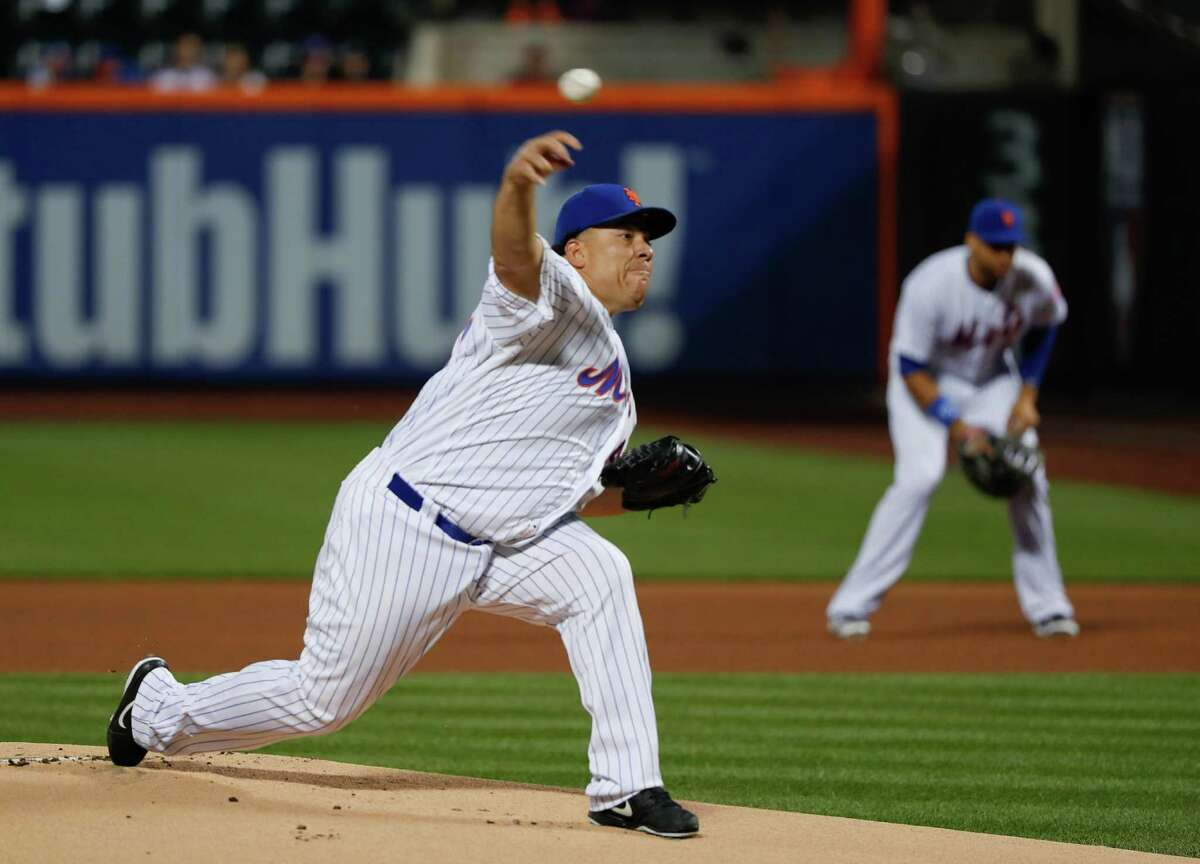 New York Mets starting pitcher Bartolo Colon delivers against the Minnesota Twins during the first inning of a baseball game, Friday, Sept. 16, 2016, in New York. (AP Photo/Julie Jacobson) ORG XMIT: NYM101