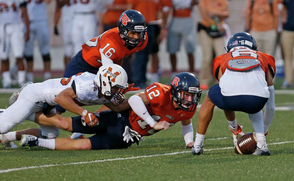 Brandeis Ryan Lipe watches fumble by Madison Brandon O'Connor, eventually recovered by Brandeis Ryan Martinez at Farris Stadium on September 16,2016.
