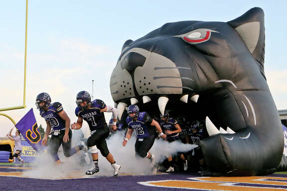 The Navarro Panthers take the field prior to their non-district game with La Grange at Erwin-Lee Field in Geronimo on Sept. 16, 2016.