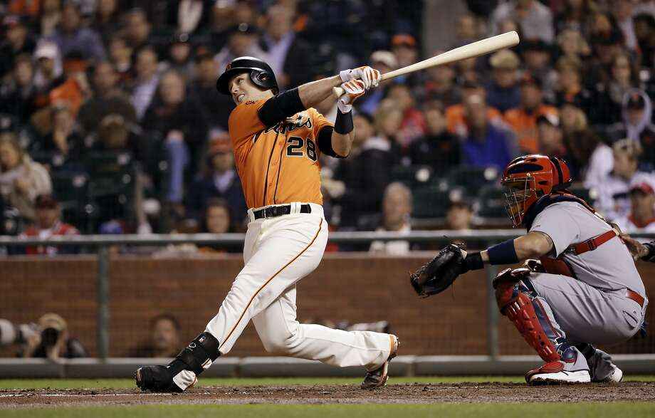San Francisco Giants' Buster Posey drives in two runs with a single during the third inning of a baseball game against the St. Louis Cardinals, Friday, Sept. 16, 2016, in San Francisco. (AP Photo/Marcio Jose Sanchez) Photo: Marcio Jose Sanchez, Associated Press