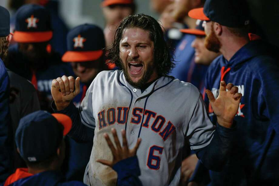 Sept. 16: Astros 6, Mariners 0SEATTLE, WA - SEPTEMBER 16:  Jake Marisnick #6 of the Houston Astros is congratulated by teammates after scoring against the Seattle Mariners in the fourth inning at Safeco Field on September 16, 2016 in Seattle, Washington. Photo: Otto Greule Jr, Getty Images / 2016 Getty Images
