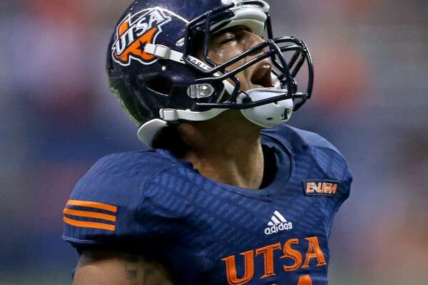 UTSA Roadrunners safety Nate Gaines celebrates after making an interception during first half action against the Arizona State Sun Devils Friday Sept. 16, 2016 at the Alamodome.