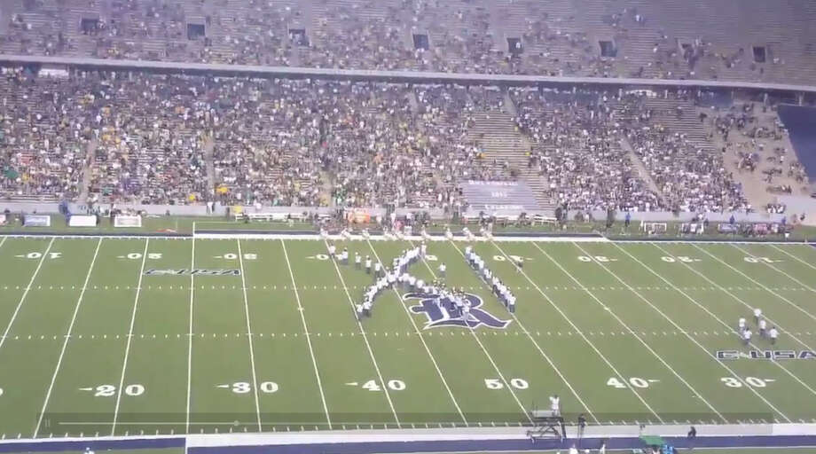 The Rice band mocked Baylor over the school's sexual assault scandal during a football game between the two schools on Friday, Sept. 16, 2016. Photo: Adam Coleman | Houston Chronicle