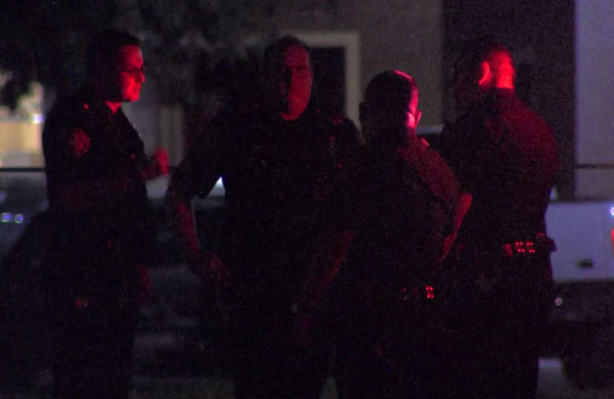 San Antonio police investigate a shooting on the North Side that left a teen male in serious condition Saturday morning, Sept. 17, 2016. Three suspects remain at large.