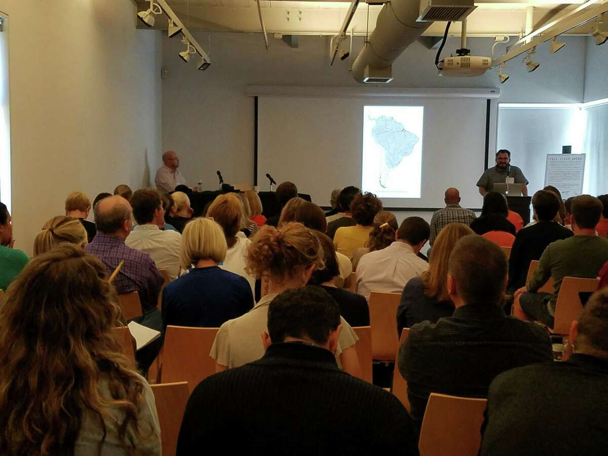 Artist David Brooks speaks at a three-day STEAM fair hosted by The Aldrich Contemporary Art Museum and Ridgefield Library. Photo Sept. 17, 2016.