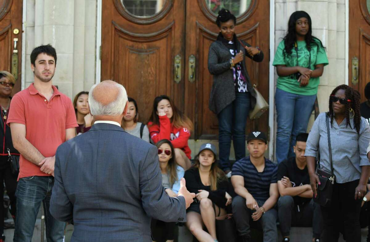 Congressman Paul Tonko speaks at the kickoff of the 5th annual event commemorating Albany's history of African American migration from the South for opportunity and a better life Mississippi Day on Saturday Sept. 17, 2016 in Albany, N.Y. (Michael P. Farrell/Times Union)