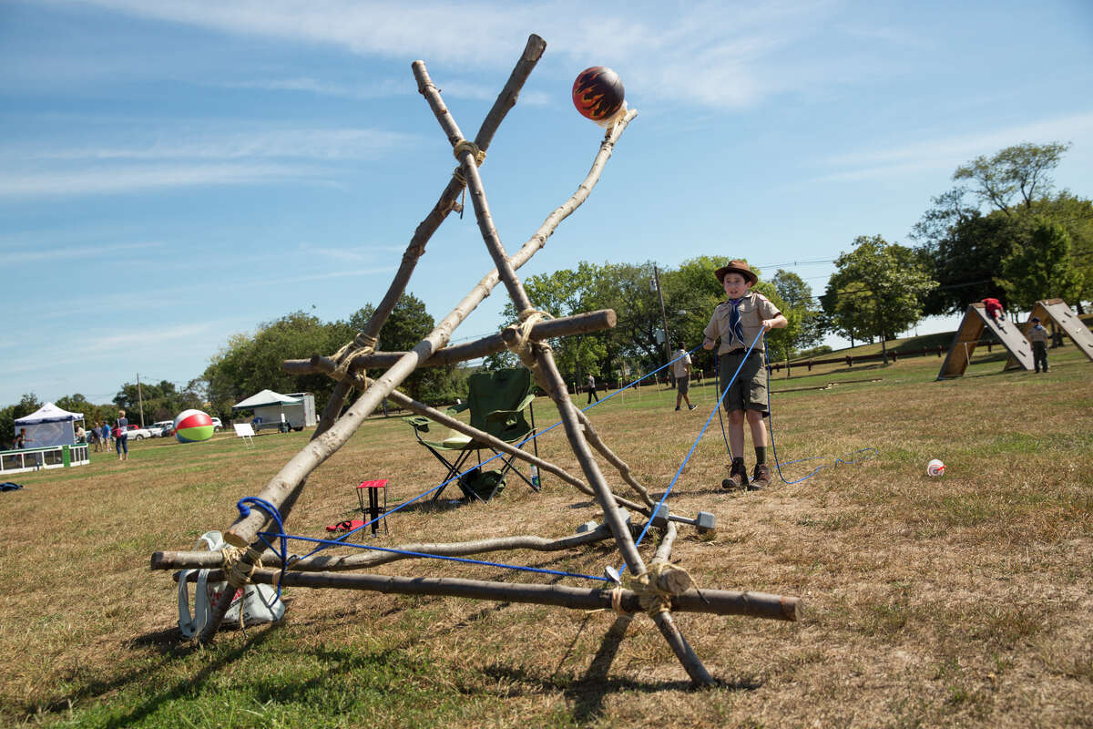 Robert Koteen launches the catapult during the second annual Norwalk Scouting Adventure at Taylor Farm in Norwalk, Conn. on Saturday, September 17, 2016.