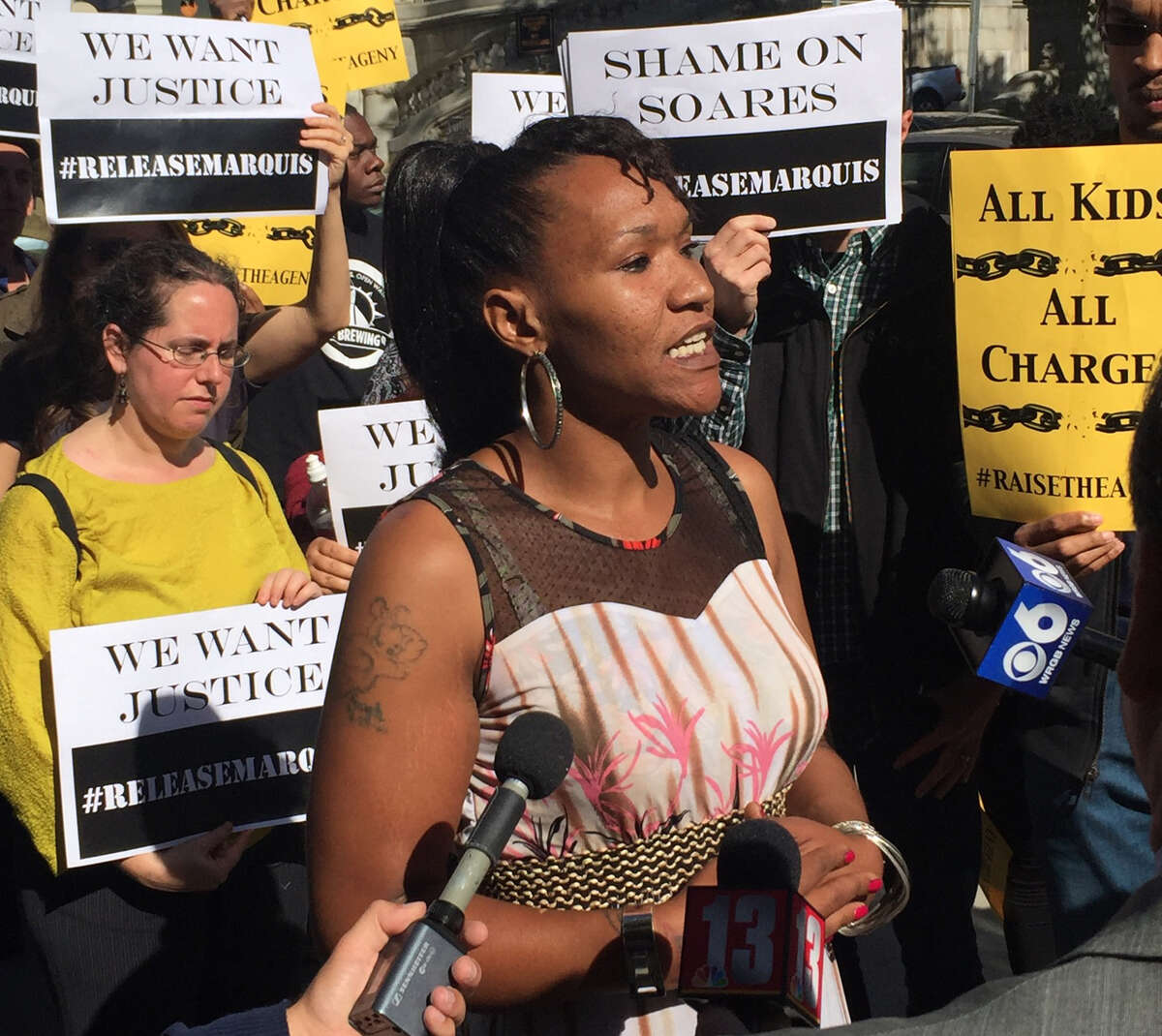 Aisha Dixon speaks to reporters about her son on Friday, Sept. 16, outside the Robert Abrams Building for Law and Justice, where the appeal of Marquis Dixon's conviction was heard. Marquis Dixon, raised in Catskill and Albany, was sentenced to nine years in prison for stealing sneakers. (Robert Gavin / Times Union)