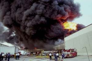 06/24/1995 - About two-thirds of the city's on-duty firefighters were sent to battle a seven-alarm fire which broke out just before 9 a.m. at the Houston Distribution Inc. warehouse at 8500 Market. Thick, black smoke poured thousands of feet into the sky as the warehouse fire gutted the complex and forced voluntary evacuations in the Pleasantville area but spared firefighters and residents serious injury.