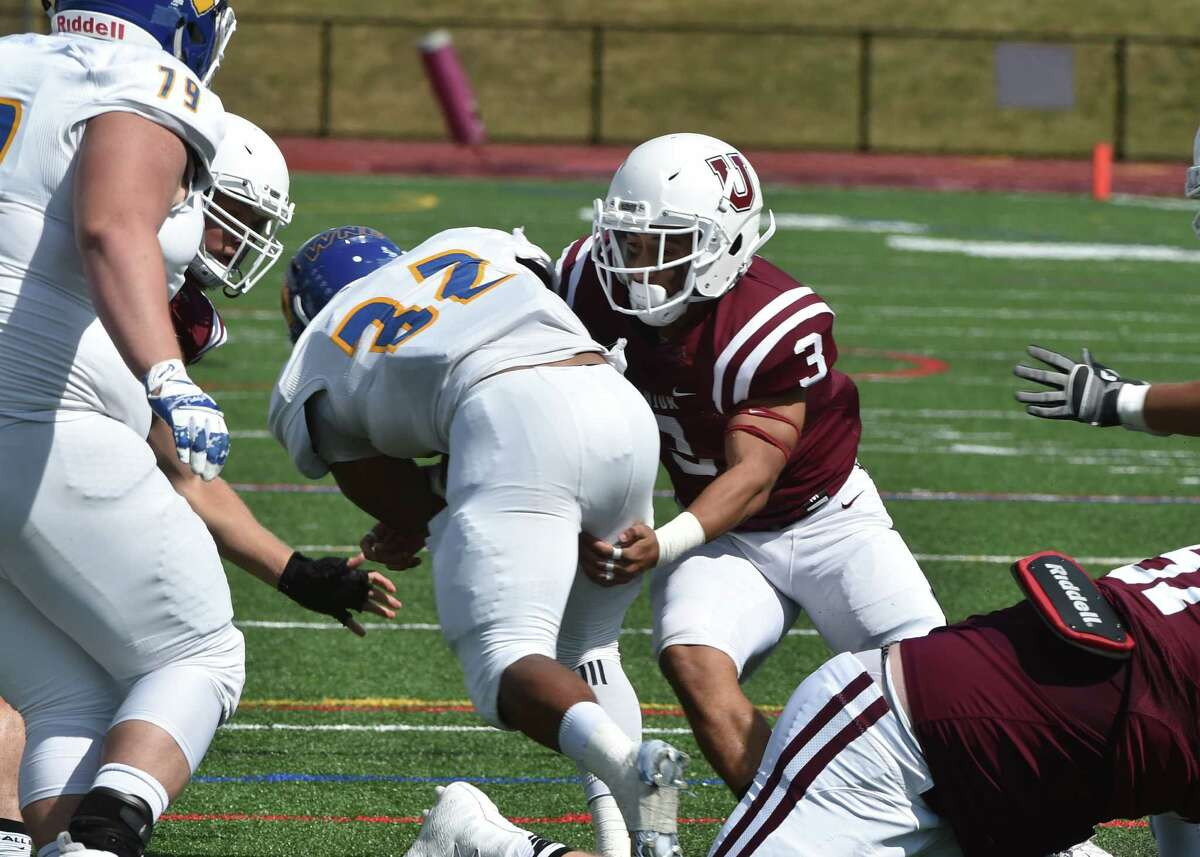 Safety Jason Nelson of Union makes a tackle during the Dutchmen's loss to Western New England on Saturday, Sept. 18, 2016, at Frank Bailey Field in Schenectady. (Trent Hermann / Carlyn Studios)