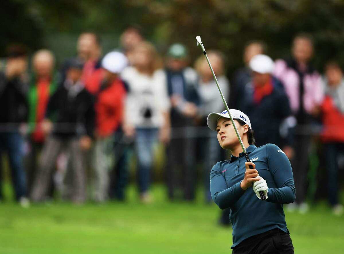 EVIAN-LES-BAINS, FRANCE - SEPTEMBER 17: In Gee Chun of Korea plays a shot during the third round of The Evian Championship on September 17, 2016 in Evian-les-Bains, France. (Photo by Stuart Franklin/Getty Images) ORG XMIT: 598024219