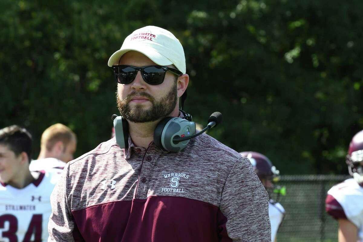 New Stillwater head coach Ian Godfrey their high school football game against Voorheesville on Saturday Sept. 17, 2016 in Voorheesville, N.Y. (Michael P. Farrell/Times Union)