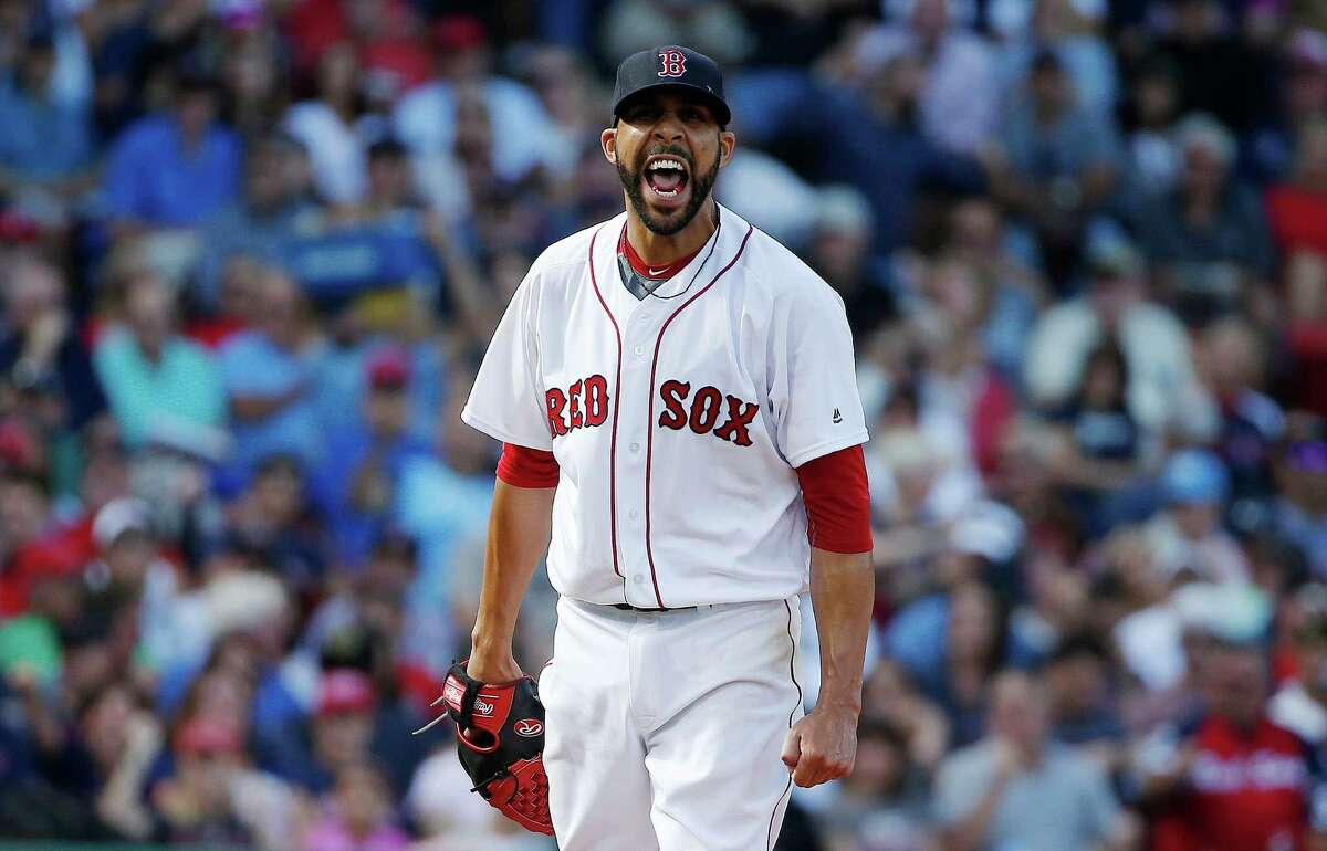 Boston Red Sox's David Price reacts after striking out New York Yankees' Rob Refsnyder to retire the side in the sixth inning of a baseball game in Boston, Saturday, Sept. 17, 2016. (AP Photo/Michael Dwyer) ORG XMIT: MAMD109