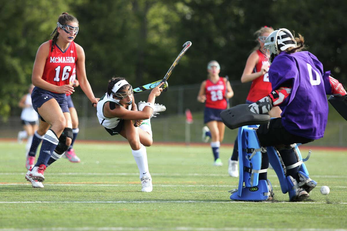 Marissa Mastriani scores a goal for Norwalk during the Bears' 4-0 victory over the Brien McMahon Senators at Norwalk High School on Saturday.