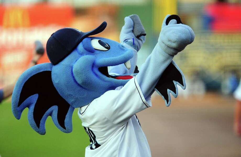 Bridgeport Bluefish mascot B.B. The Bluefish at a game at the Ballpark at Harbor Yard in Bridgeport in August. Photo: Christian Abraham / Hearst Connecticut Media / Connecticut Post