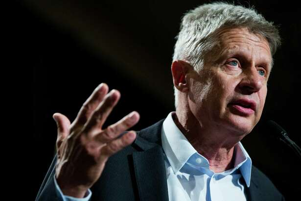 Gary Johnson, the Libertarian PartyÕs presidential nominee, speaks during a rally at the Sheraton in Seattle on Saturday, Sept. 17, 2016.