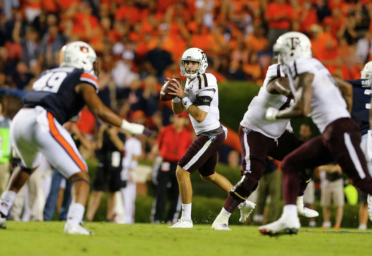AUBURN, AL - SEPTEMBER 17: Quarterback Trevor Knight #8 of the Texas A&M Aggies looks downfield to pass against the Auburn Tigers during the second half of an NCAA college football game on September 17, 2016 in Auburn, Alabama. Texas A&M Aggies won 29-16.