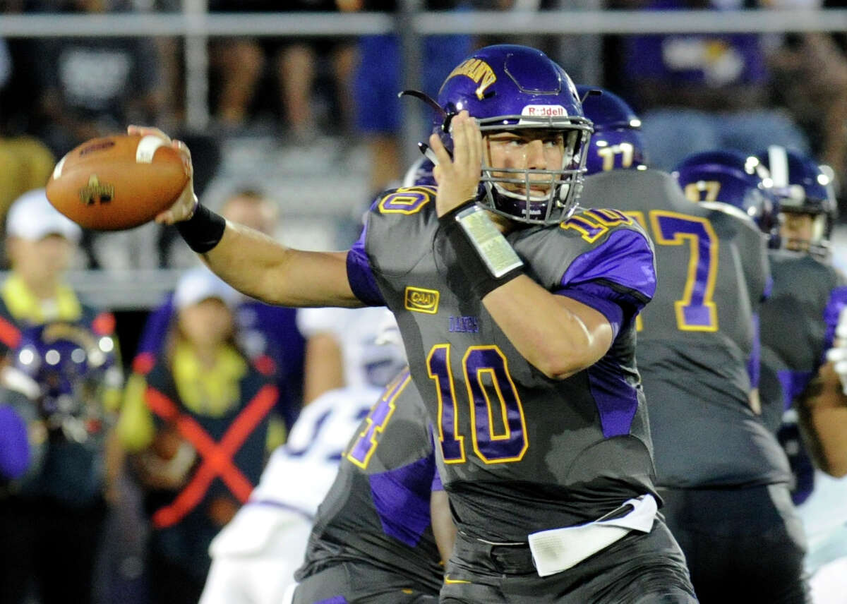 UAlbany quarterback Neven Sussman (10) throws a pass against Holy Cross during the first half of an NCAA college football home opener game in Albany, N.Y., Saturday, Sept. 17, 2016. (Hans Pennink / Special to the Times Union) ORG XMIT: HP102