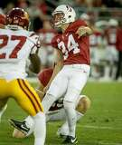 Kicker Conrad Ukropina #34 of the Stanford Cardinal kicks a field goal at Stanford, Calif. on September 17th, 2016.